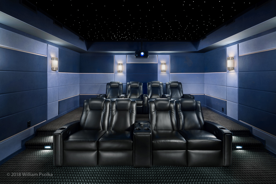 seating and back of pre-designed theater
